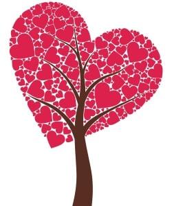 valentines day bubble art - heart tree