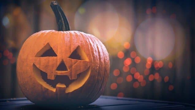 jack o'lantern pumpkin sitting on a table